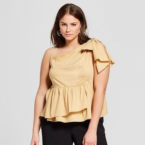 NWOT! Who What Wear One Shoulder Peplum Top